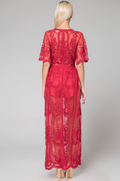 cf575368627 Preorder - Bardot Lace Maxi Romper - Red