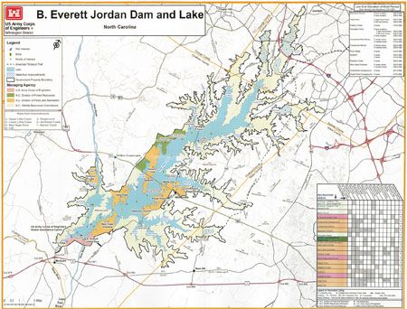 US Army Corps of Engineers, Wilmington District - B. Everett Jordan Dam and Lake map and brochure. http://en.wikipedia.org/wiki/Jordan_Lake#mediaviewer/File:B._Everett_Jordan_Lake_Map.png