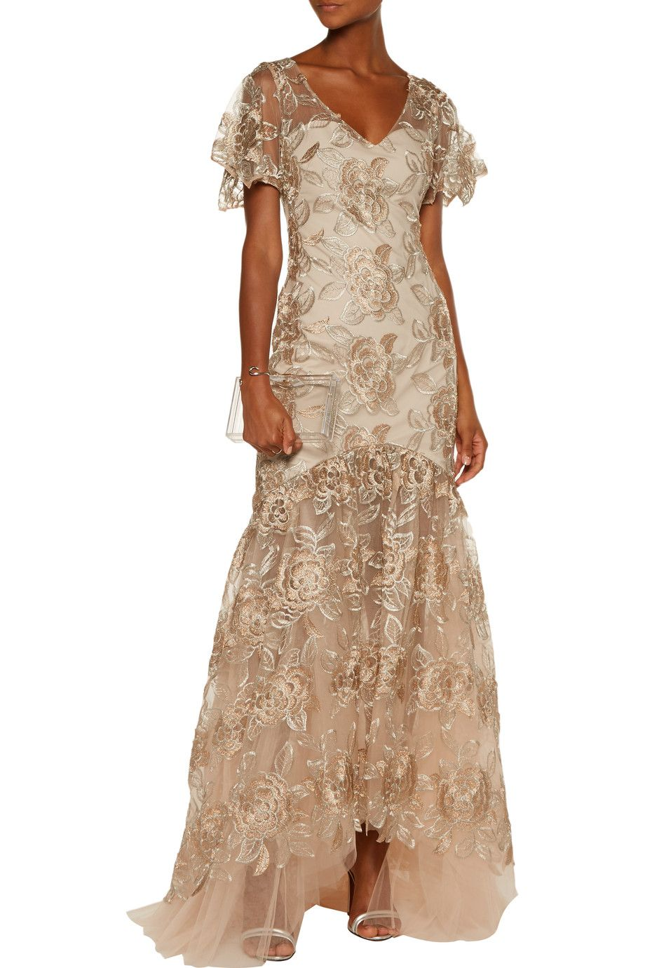 Fluted floral embroidered tulle gown | MIKAEL AGHAL | Sale up to 70% off