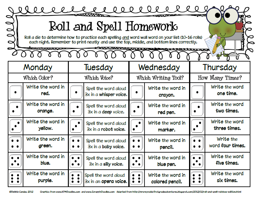first grade spelling homework you can grab my new freebie roll and spell homework forms here. Black Bedroom Furniture Sets. Home Design Ideas