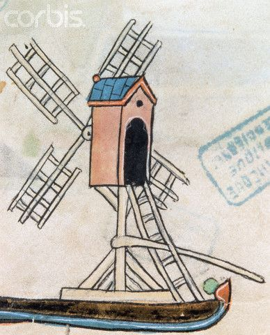 French Manuscript Illumination of a Windmill From an Obituary Calendar - IH164111 - Rights Managed - Stock Photo - Corbis