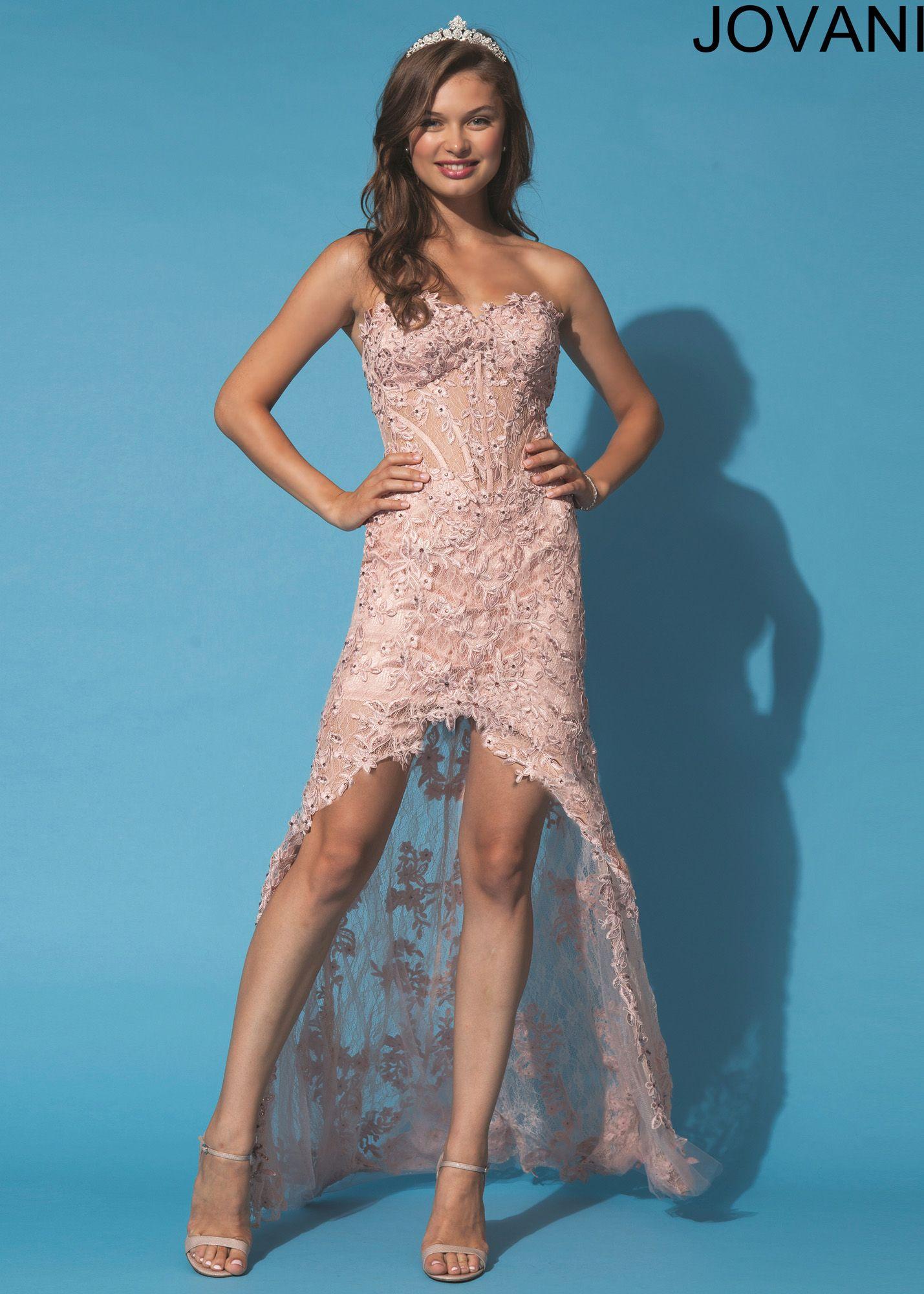 Jovani 92545 - Blush Strapless Lace High Low Prom Dresses Online ...
