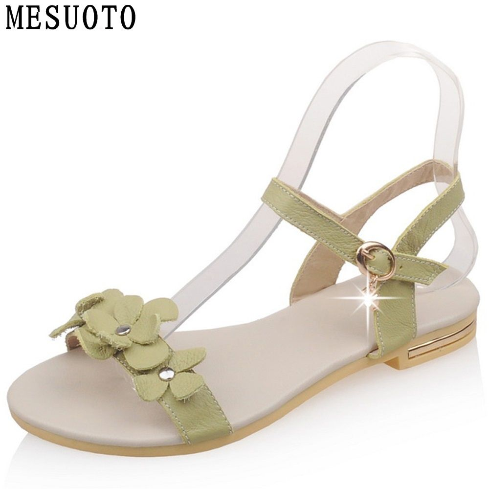 MESUOTO Bohemia Sweet Flower Buckle Real Genuine Leather Sandals