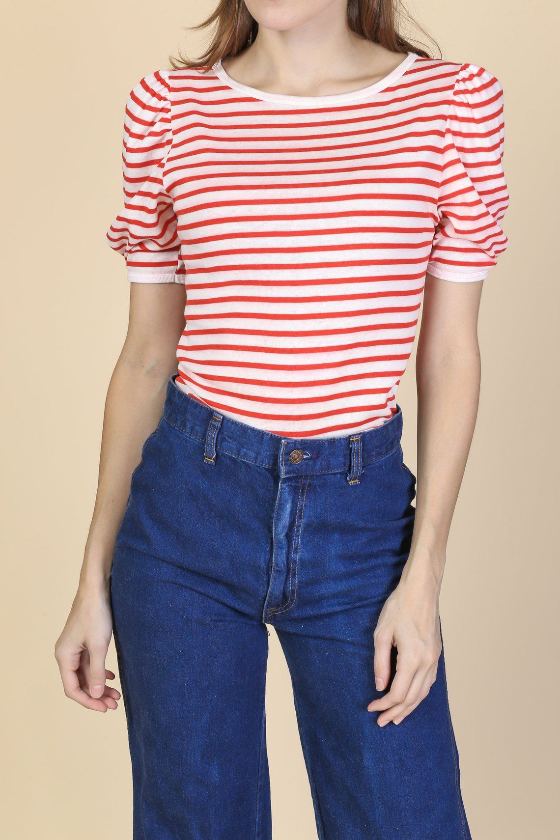f10abb5892 70s Nautical Striped Top Small Vintage Red   White Puff