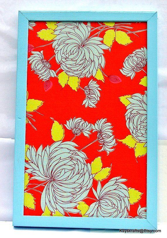 Orange Aqua Chrysanthemum Cork Board Cork Bulletin Board