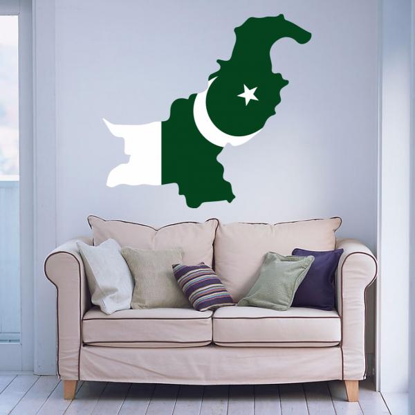 Pakistan Flag Map Decal Wall Sticker Pakistan Flag Art And Wall - Wall decals in pakistan