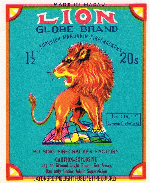 Lion Globe C4 20's firecracker pack label by Mr Brick Label