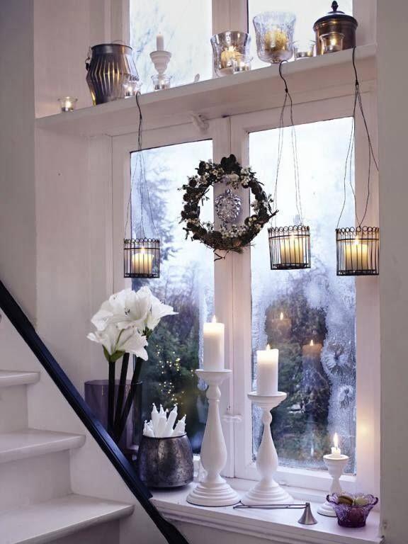 Weihnachtsdeko Gardinen.Candles In 2019 Kerzenlicht Fensterbank Deko Und Fensterdeko Hängend