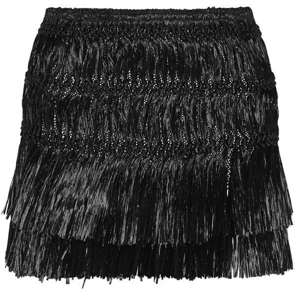 Isabel Marant Copal fringed faux raffia mini skirt (€210) ❤ liked on Polyvore featuring skirts, mini skirts, black, short mini skirts, short tiered skirt, raffia skirts, elastic waist skirt and tiered mini skirt