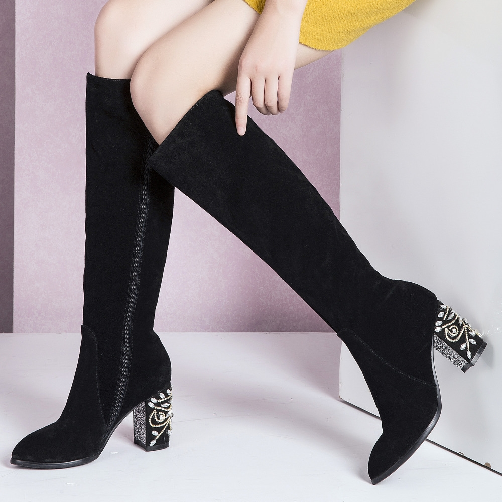 67.24$  Know more - http://ai1v1.worlditems.win/all/product.php?id=32721815912 - 2016 Fall Winter Women's Knee High Boots Thick High Heel Tall Boots Rhinestone Heel Real Leather Fashion Long Boots Shoes Women