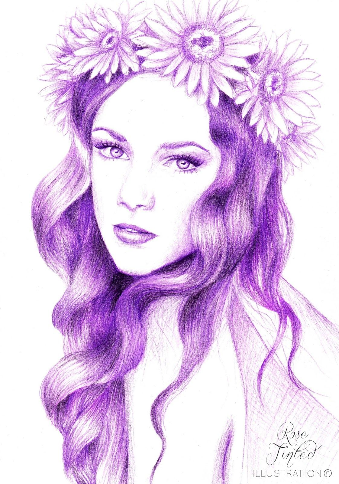 Rose Tinted Illustration Lilac Lady With Flower Crown Rose Tinted Illustration Flower Crown Drawing Crown Drawing Flower Drawing