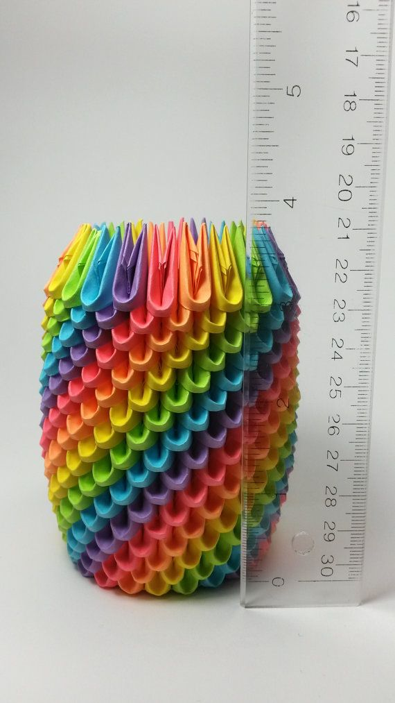 This Rainbow Origami Pencil Holder Makes The Perfect Desk Accessory