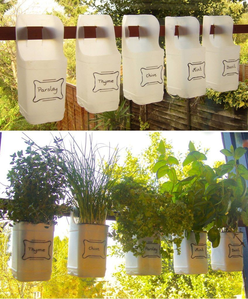Bottle Herb Garden - From Recycled Milk Bottles I love the idea of making planters out of the most unlikely items for your herbs and planters. Here are 23 planter ideas that will give your home and garden that unique touch this summer!I love the idea of making planters out of the most unlikely items for your herbs and planters. Here are 23 planter ideas that wi...