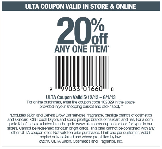 Pinned May 12th 20 Off A Single Item At Ulta Or Online Via Promo Code 102029 Coupon Via The Coupons App Ulta Coupon Ulta Printable Coupons