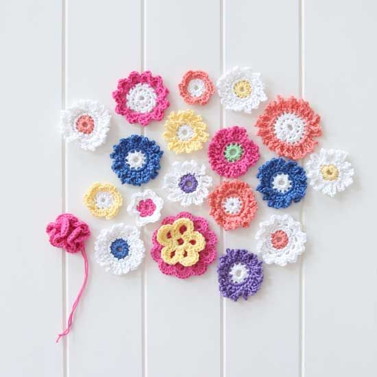 Free Crochet Flower Pattern Patons And Heirloom Yarn Small