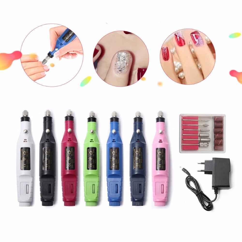 1set 6bits Power Professional Manicure Drill Pedicure Kit Nail Drill Machine Manicure
