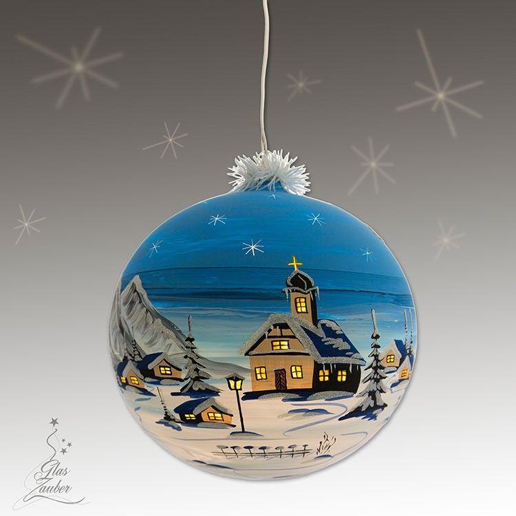 Beleuchtete Weihnachtskugeln.Xxl Beleuchtete Glaskugel Aus Glas ø 25 Cm Winterblau