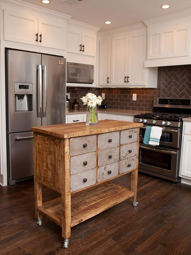 cocina pequeña moderna con isla muy pequeña de madera | DECO ...
