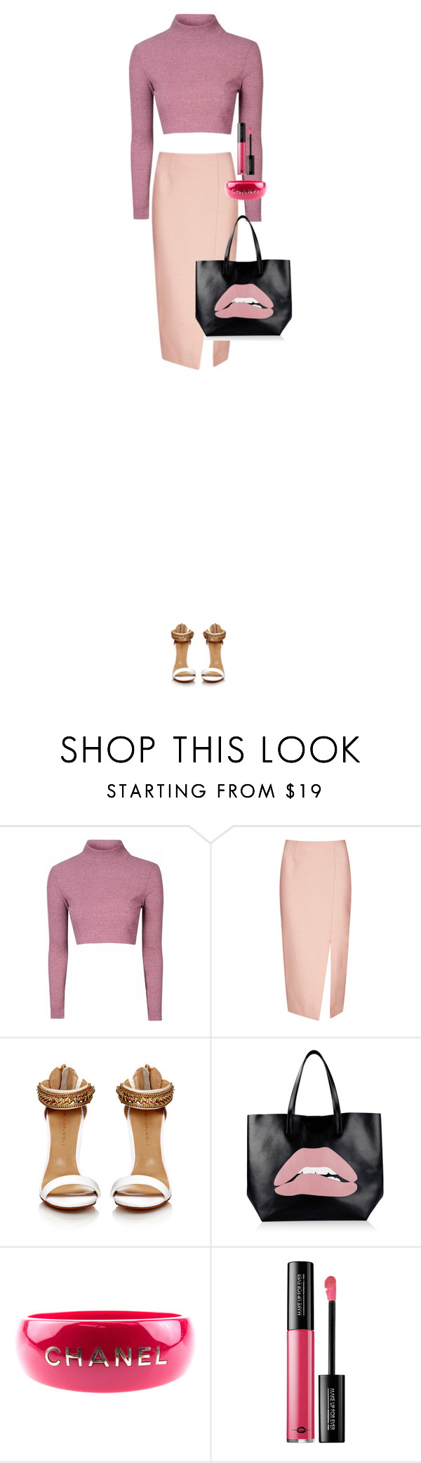"""""""Rose Goldeie"""" by xoxomuty on Polyvore featuring Glamorous, C/MEO COLLECTIVE, RED Valentino, Chanel and MAKE UP FOR EVER"""