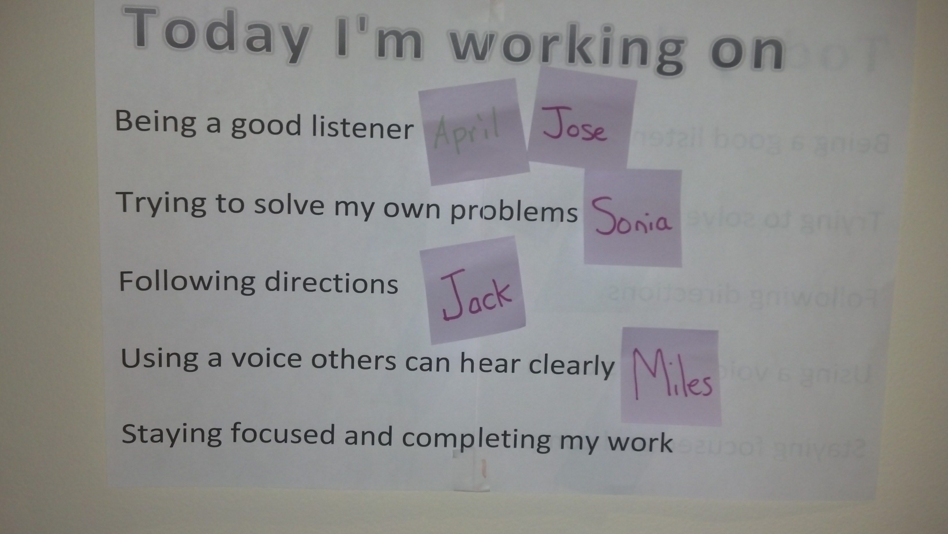Students Not Me Choose The Behavior They Want To Work On