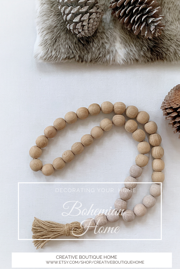 Bohemian Decor Rustic Garland for Tiered Tray Everyday Garland with Tassel Neutral Wood Bead Garland