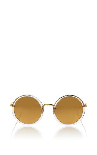 f07f24e401c Round Sunglasses With Reflective Gold Lenses by LINDA FARROW Now Available  on Moda Operandi