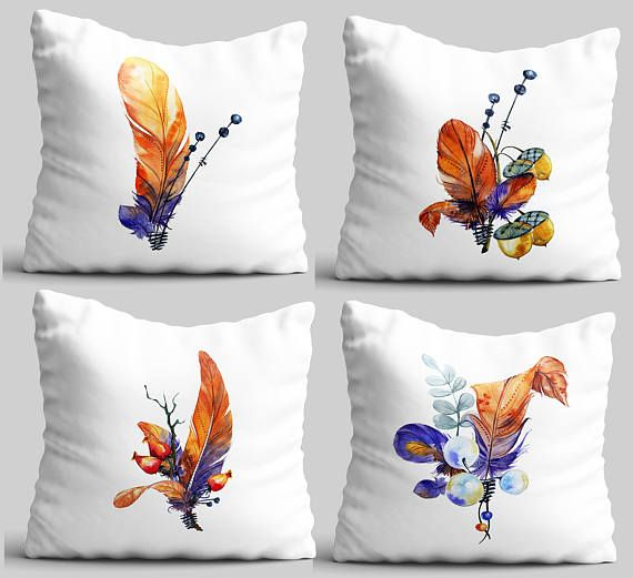 Throw pillow set 4 feather bouquet white pillow cover house  6b8d13e4a