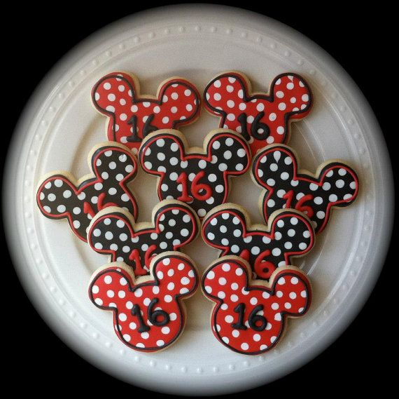 Decorated Mickey Mouse Silhouette Cookies with by peapodscookies, $36.00