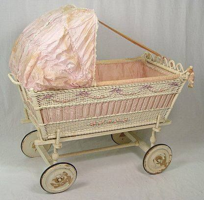 Antique Silk Dressed Wicker Baby Bassinet Ca 1910 20