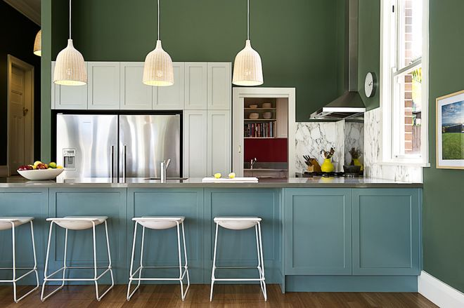 Transitional Kitchen By Brett Mickan Interior Design Green Kitchen Cabinets Kitchen Paint Kitchen Cabinet Colors