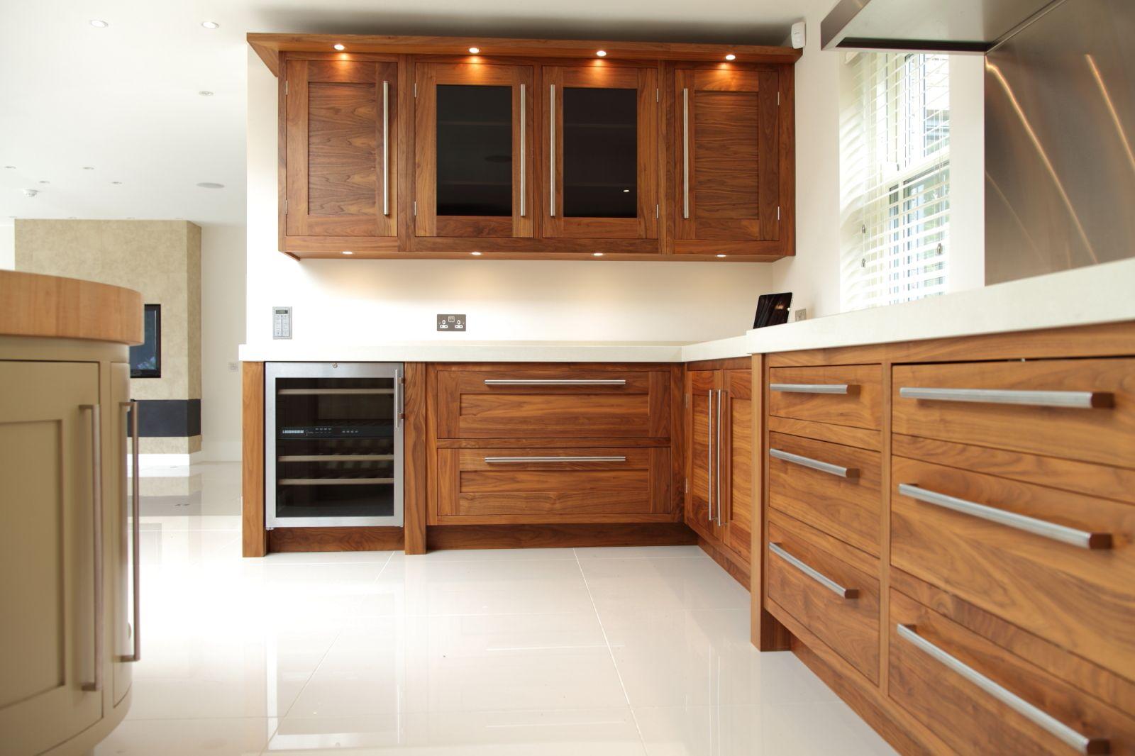 Grey Tinted Glass Works Well With The Walnut Kitchen Furniture Design Artistic Kitchen Walnut Kitchen