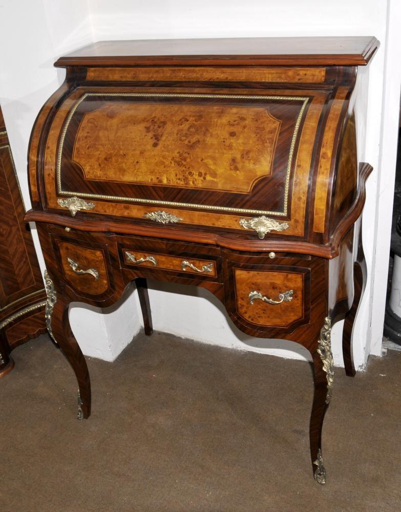 Louis XVI Roll Top Desk Walnut Bureau Plat Furniture