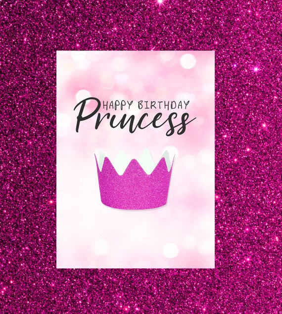 Happy Birthday Princess Card Glitter Princess Card Digital Card Instant Download Pink Crown Happy Birthday Princess Princess Birthday Birthday Wishes Messages