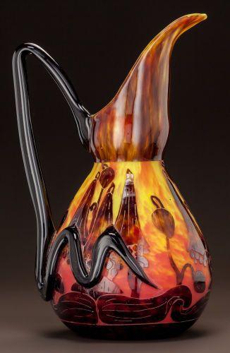 Art Glass:Schneider, CHARLES SCHNEIDER LE VERRE FRANCAIS GLASS CAMPANULES EWER.Circa 1925. Engraved La Verre Francais. Ht. 12-5/...