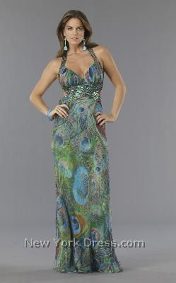 Peacock Bridesmaid Dresses | Dave and Johnny - Peacock Sequin Cutout Back Evening Gown