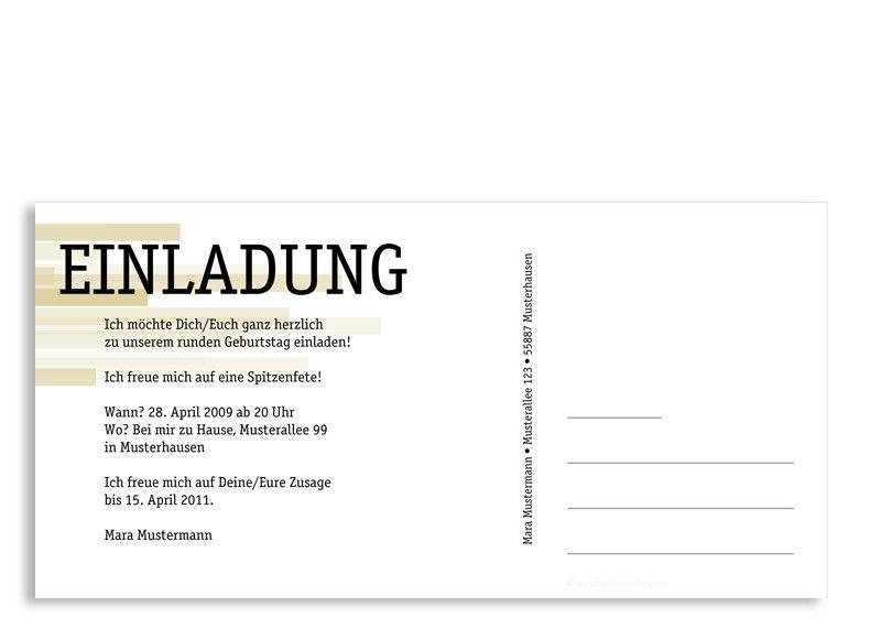 Ruckseite Einladungs Postkarte Zum Geburtstag Motiv Technik
