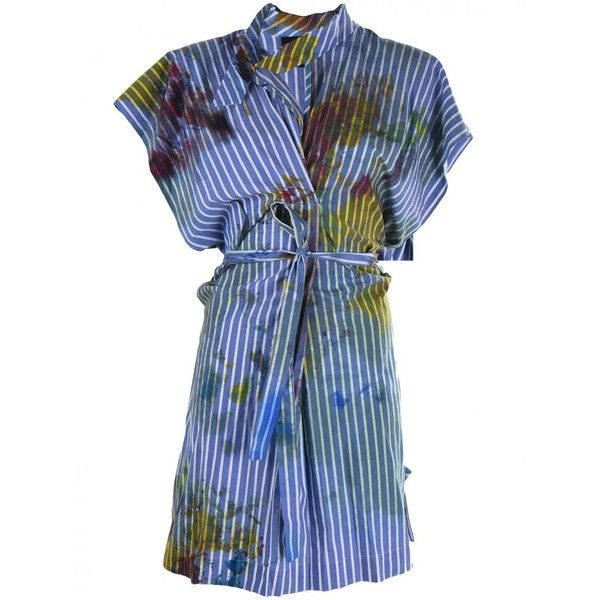 VIVIENNE WESTWOOD - Paint-Splatter Striped Dress - 1208-175-J033-SS16... ($925) ❤ liked on Polyvore featuring dresses, vivienne westwood dresses, stripe dress, blue dress, blue stripe dress and striped dress