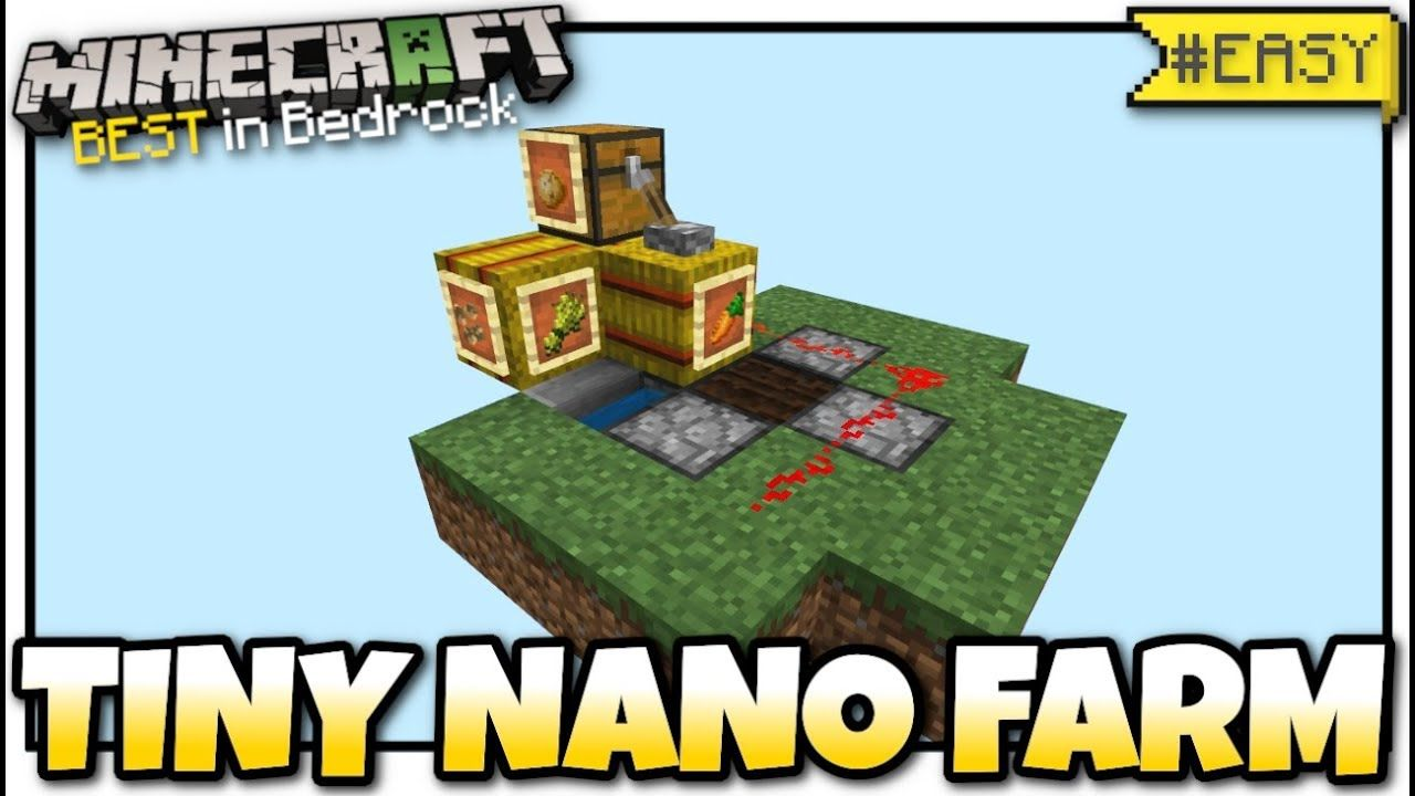 How To Make Pixel Art In Minecraft Bedrock Minecraft Tiny Nano Farm All Crops Redstone Tutorial Mcpe Bed Crop Farming Bedrock Minecraft