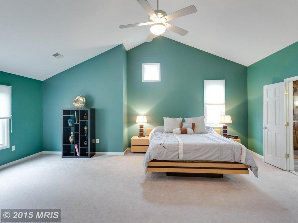 master bedroom with carpet flush light high ceiling fan fans  Home