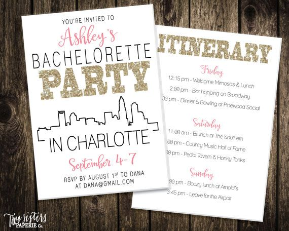 Charlotte Bachelorette Party Invitation And By TwoSistersPaperieCo