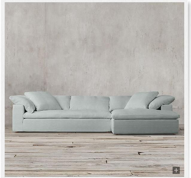 Restoration Hardware Cloud Track Arm Sofa Color Spruce Fabric Washed Belgian Linen