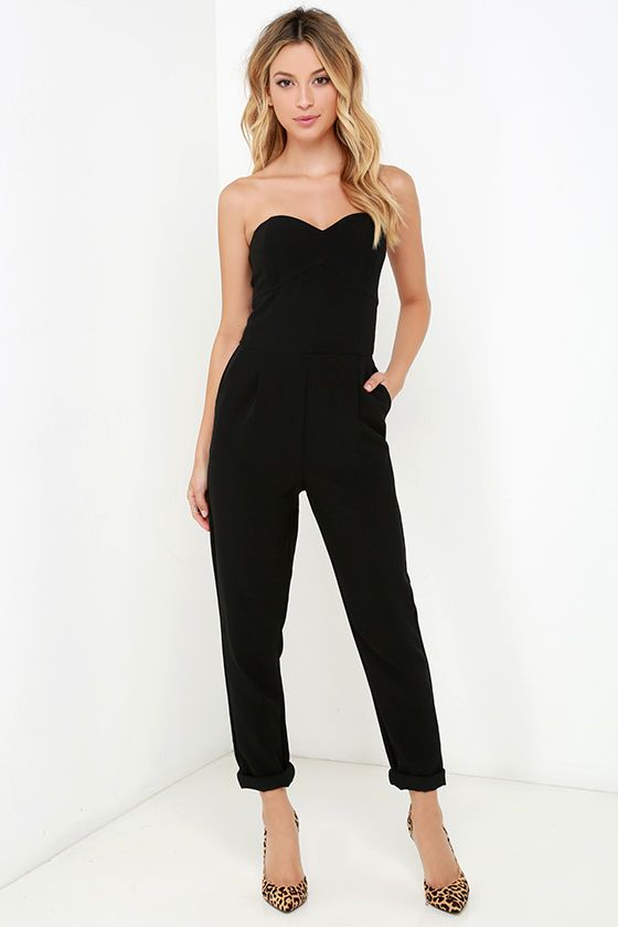 7da96e202439 Pump up the jams and hit the dance floor in the Electric Boogaloo Black  Strapless Jumpsuit! Medium-weight poly fabric (with the perfect amount of  stretch) ...