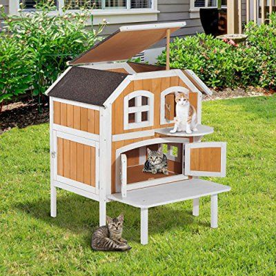 Pawhut 2 Level Wood Cottage Elevated Outdoor Cat Shelter House