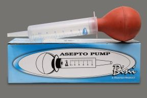 Bini Asepto Pump online by Medicure India   Bini Asepto Pump online available at Medicure India. Feeding and irrigation syringe pump. Tapered tip facilitates easy and safe connection to any catheter or gastric tube. Transparent bulb facilitates easy pumping and suction. Sterile, individually packed in a peelable pouch.