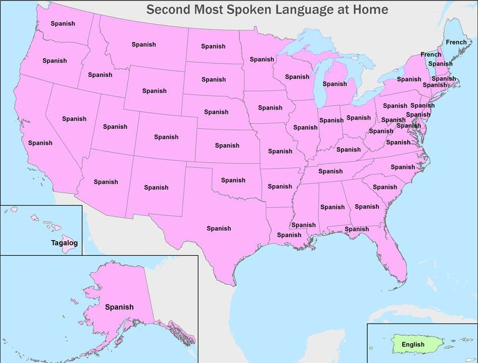 Second most common language by US state Maps Pinterest Language