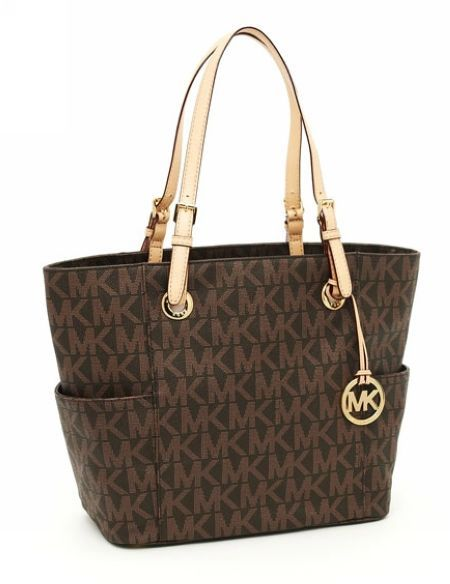 ad0e453c116f MICHAEL Kors Jet Set MK Logo-print Signature Tote Brown | Websites ...