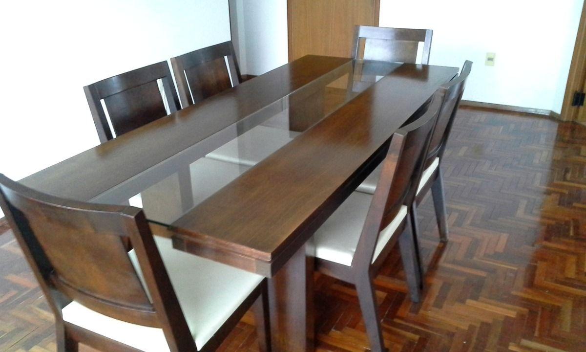 Juego de comedor grande en madera maciza de seis sillas for Muebles online uruguay