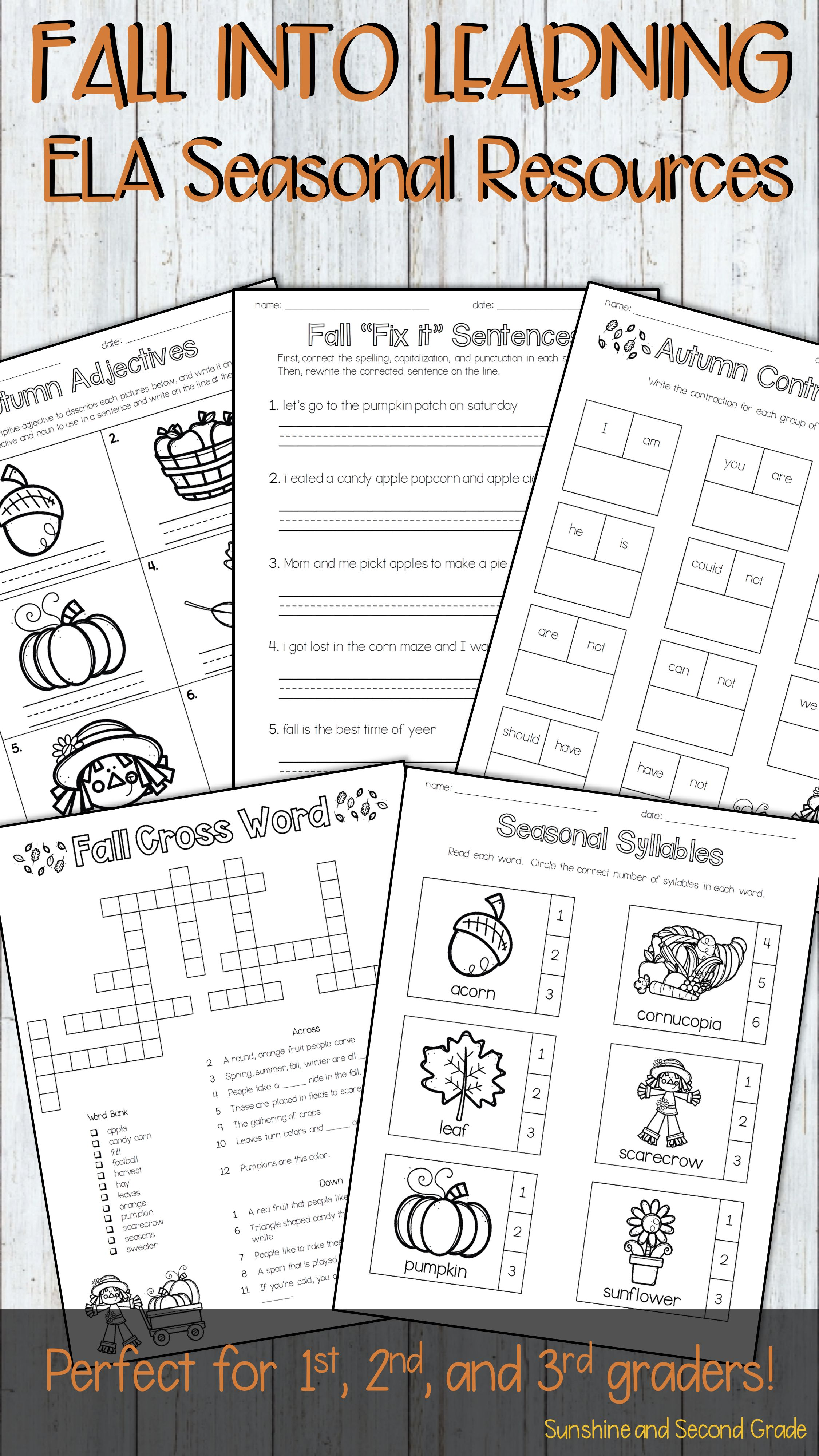 Fall Into Learning Ela Autumn Resources For 1st 2nd And
