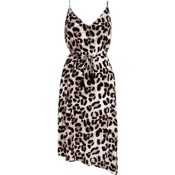 831a5670dcf7 River Island Brown leopard print midi slip beach dress ($56) ❤ liked on  Polyvore featuring swimwear, cover-ups, brown, kaftans & cover-ups, ...