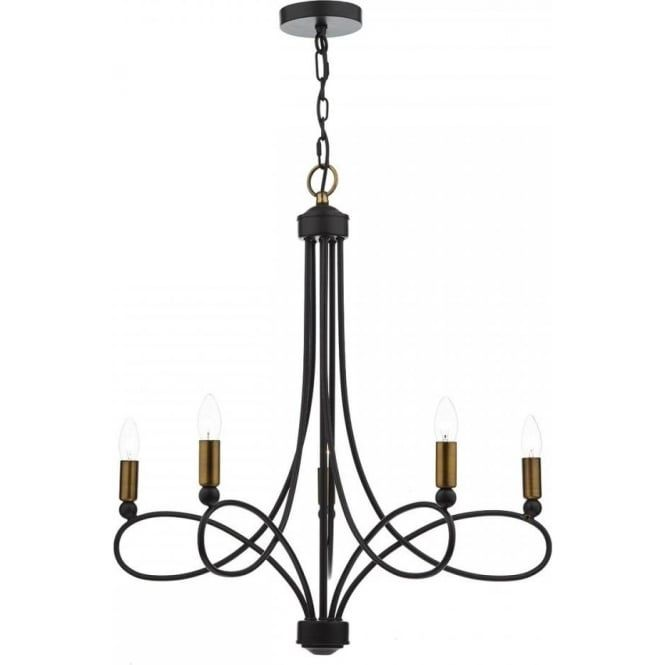 A Traditional Matt Black Chandelier Brought Up To Date With The Copper Accents Cosworth Is 5 Light Fitting On Chain Suspension Long Drop Of